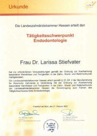 Zahnärztin Larissa Stiefvater Zertifikat